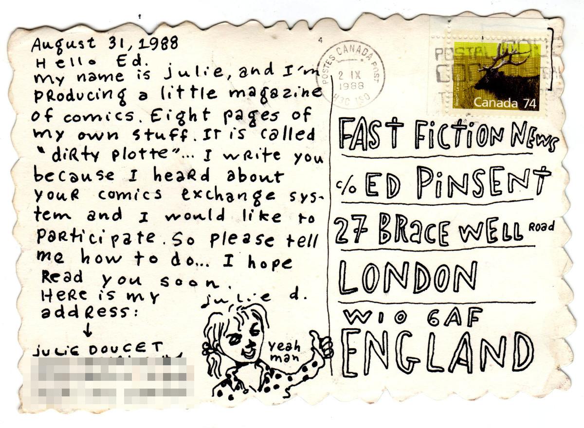 A postcard from Julie Doucet